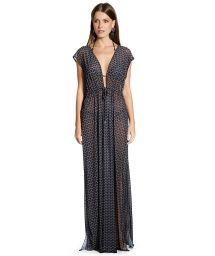 Longue robe géométrique noir fendue - VESTIDO KRUGUER