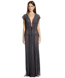 Long black split geometric dress - VESTIDO KRUGUER