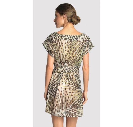 Beach mini dress in leopard print - BASIC STRIP CHEETAH