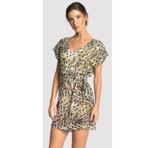 שמלה לחוף הים מהודרת עם חגורה והדפס חייתי - BASIC STRIP CHEETAH