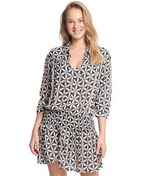 Retro print long-sleeved beach dress - ASTRAL COVER UP