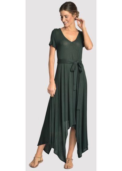 Mörkgrön, asymmetrisk lyxig strandklänning - ASYMMETRIC DRESS ATLANTIC
