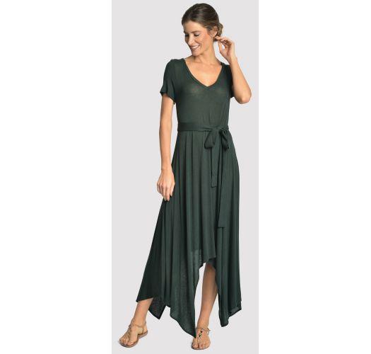 Asymmetric long beach dress - dark green - ASYMMETRIC DRESS ATLANTIC