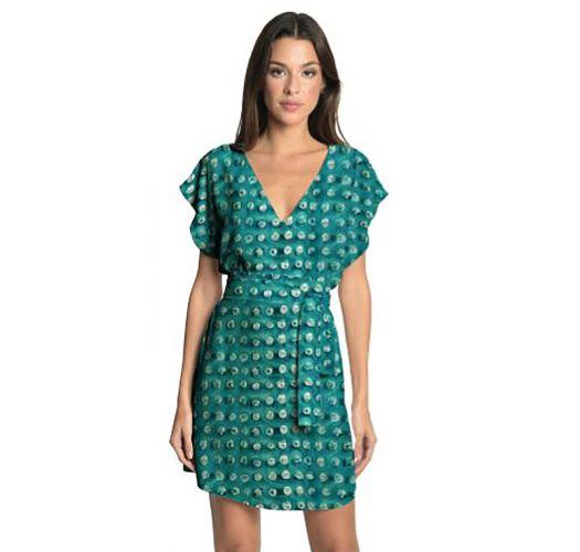 Επώνυμο, πράσινο, εμπριμέ φόρεμα με ζώνη, ιδανικό για τη θάλασσα - BASIC STRIP AQUA