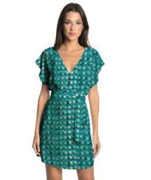 Green printed luxurious beach mini dress - BASIC STRIP AQUA