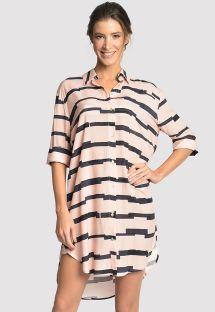 Lång tryckt tvåtonig strandskjorta - CHEMISE MARINA