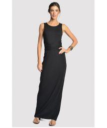 Lång svart klänning med lyxiga detaljer och öppen baksida - DETAILED DRESS BLACK