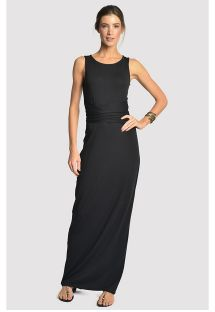Long black luxurious dress with open back - DETAILED DRESS BLACK