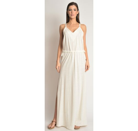 Long cream luxury openwork back beach dress - LACE COVER UP OFF WHITE
