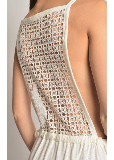 Lång, lyxig strandklänning med öppen rygg - LACE COVER UP OFF WHITE