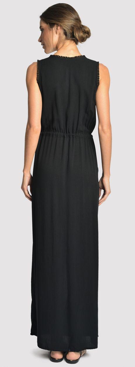Lång, svart, snittad strandklänning med fickor - LONG DETAIL COVER UP BLACK