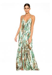 Long beach dress with snake print and cross-over back - LONG DRESS SKIN