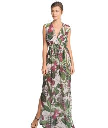 Long split beach dress crossover neckline - LONG RUFFLE DRESS