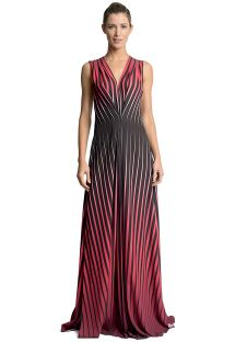 Long runway dress in a red and black graphic print - MYKONOS LUZ POENTE