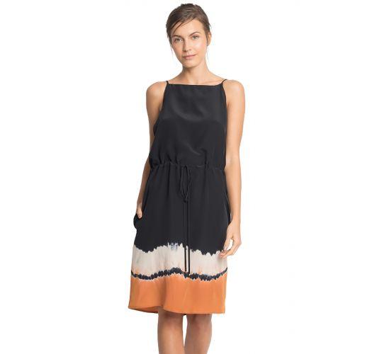 Black and tie-dye print silk dress- TIE DAY DRESS