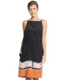 Svart sidenklänning med batiktryck nertill - TIE DAY DRESS