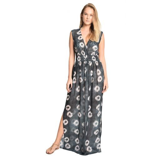 Luxurious long denim printed beach dress - VAGANTE