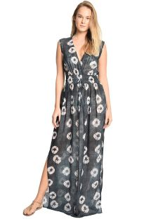 Luxurious long denim printed beach dress - VAGANTE