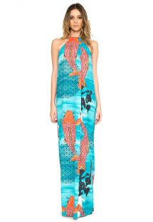 Long dress with high neckline and fish print - VESTIDO PREGAS KOI