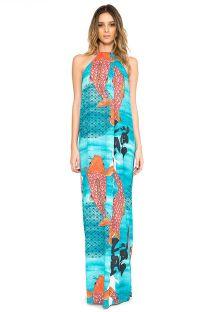 Vestido longo de decote alto com padrão de carpa - VESTIDO PREGAS KOI