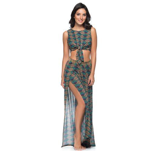 Beach crop top & skirt with green/copper print - AMARRAÇÃO METALLIC