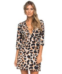 Animal pattern beach cover up - 3/4 sleeves - AMERICA CENTRAL