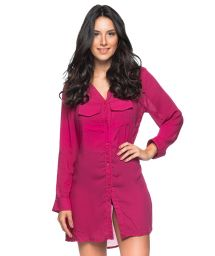 Raspberry pink shirt dress with long sleeves - CHEMISE CLOCHE