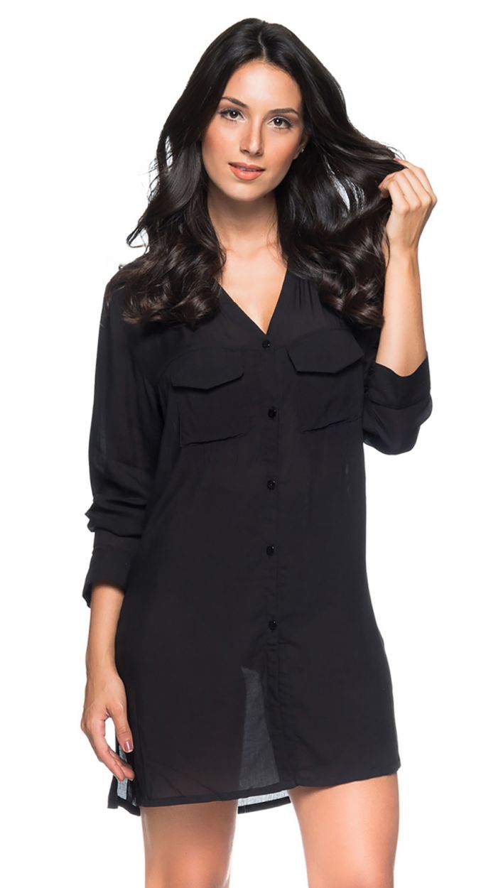 Black long sleeve beach shirt dress - CHEMISE PRETO
