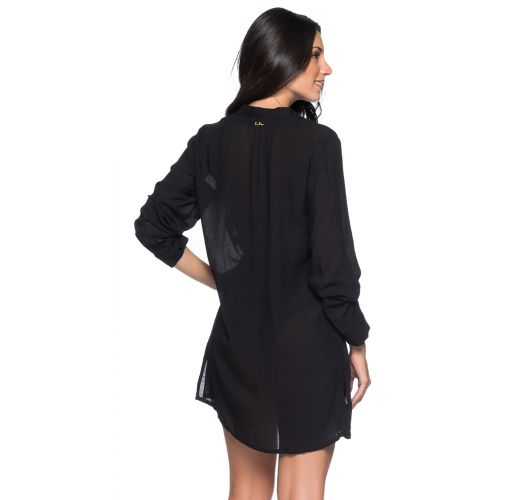 Black long sleeve beach shirt dress - CHEMISE PRETO