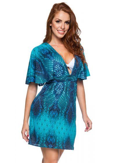 Djupt urringad strandklänning i blått reptiltryck - DECOTE DIAMOND