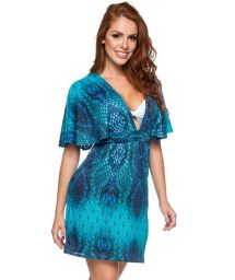 Blue reptile print plunging beach dress - DECOTE DIAMOND