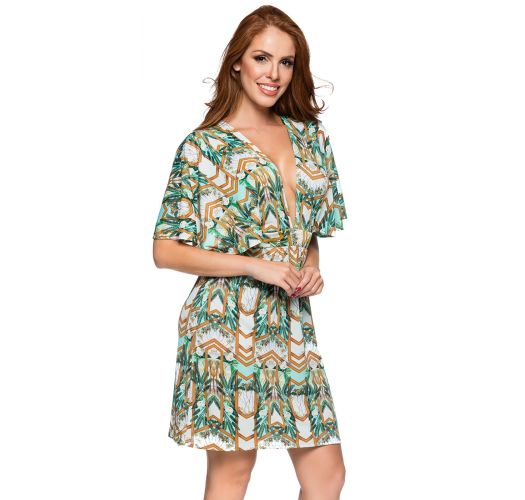 Plunging neckline beach dress in green print - DECOTE PAQUETARIA