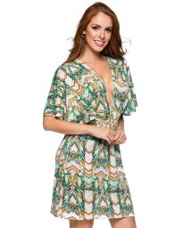 Plunging neckline beach dress in green print - DECOTE PAQUETARIA