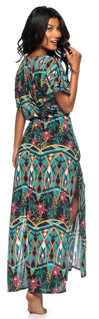 Long colorful printed slit beach dress - LONGA MOSAIC