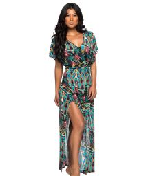 Long colorful printed slit beach dress - LONGA MOSAIC