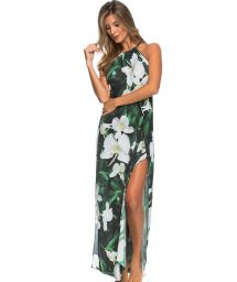 Long green beach dress with white flowers - LONGO FOLHAGEM