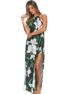 白い花柄が付いた緑のロングビーチドレス - LONGO FOLHAGEM