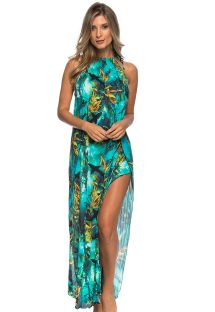 Long blue-patterned beach dress with split leg  - LONGO SHARKS