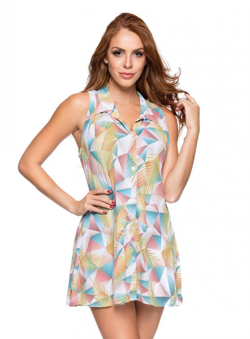 Geometric pastel shirt sleeveless dress - REGATA GOLA GEOMETRIC ART
