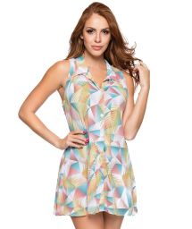 Geometric pastel shirt sleeveless dress - REGATA GOLA GEOMETRIC ART