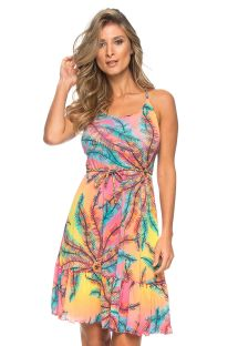 Colorful summer dress with crossed back - SUL DE ALAGOAS