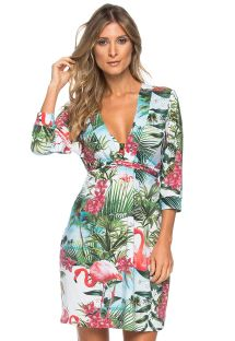 Pink flamingo dress with V neckline and  sleeves - TUNICA DECOTE