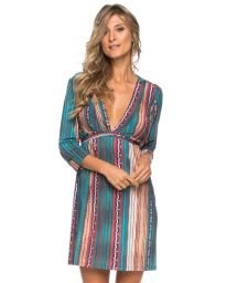 Stripped beach dress V neckline and sleeves - TUNICA TAPECARIA