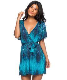 Short wallet dress with a blue print - VESTIDO DIAMOND