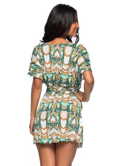 Short wallet dress with a green print - VESTIDO PAQUETARIA
