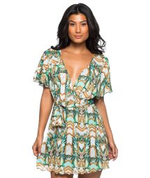 Short wallet dress with a green print - VESTIDO PAQUETARIA