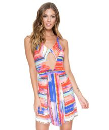 Multicoloured striped beach cover-up with cut-out - BELLAMAR CUT OUT DRESS