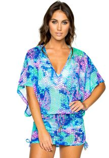 Beach mini dress - mermaid print - CABANA SIRENAS
