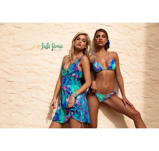 Beach midi dress with V neckline - mermaid print - CRYSTALLIZED SIRENAS