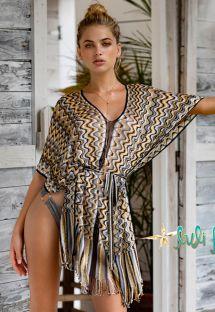 Пляжное платье в мелкую ячейку черного/золотистого цвета - DRESS BLACK GOLD RUMBA